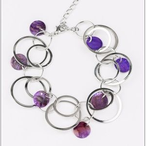 Total Shell Out Silver and Purple Bracelet